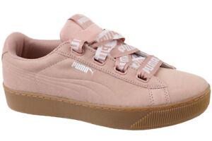 PUMA Vikky Platform Ribbon Bold Womens Pink Peach Suede Trainers ... 744816e04