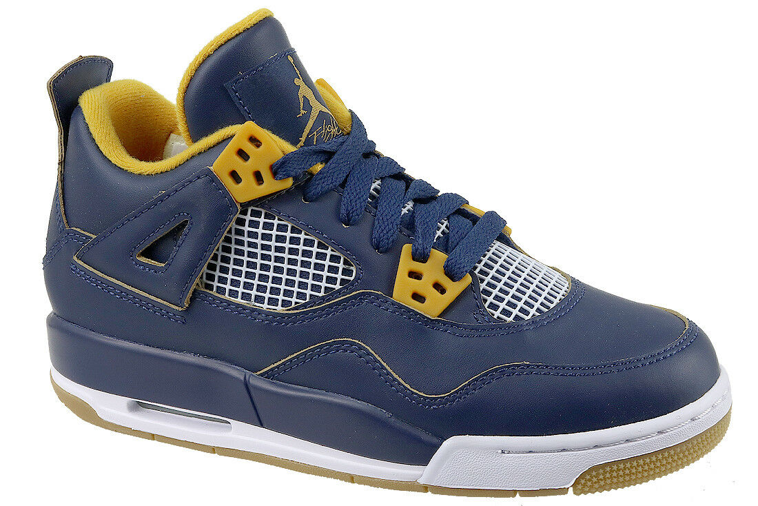 62c571ae64a Nike Air Jordan 4 IV Retro BG Dunk From Above Navy Gold Womens Aj4 ...