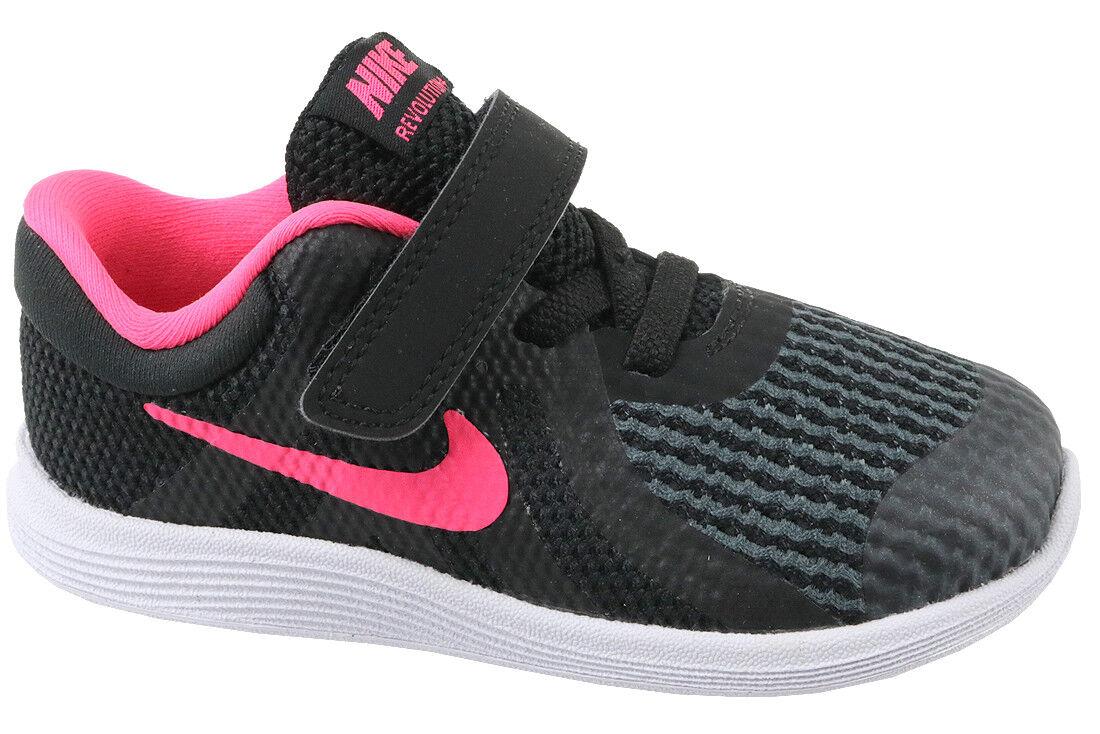 528b3ee15f Nike Revolution 4 TDV Strap Black Racer Pink Toddler Infant Baby ...