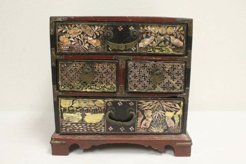 Rare red lacquered Korean Mother-of-Pearl comb box - 19th century Joseon Dynasty