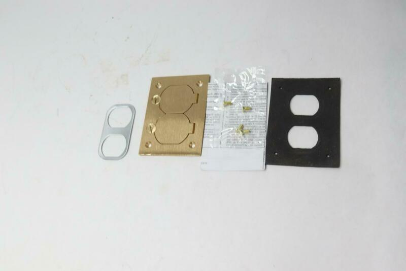Hubbell Wiring Systems Brass Round Floor Box Rectangle Duplex Flap Cover S3825