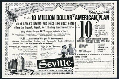 1958 Seville Hotel Miami Beach Florida illustrated vintage print ad