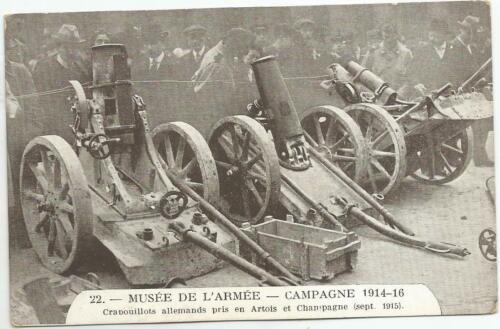 1914-18 ERA MUESEUM OF ARMY PARIS FRANCE RED CROSS LARGE GUNS POSTCARD