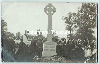 Over, Cambridgeshire War Memoria unveilingl. 1920s. Real Photo Postcard