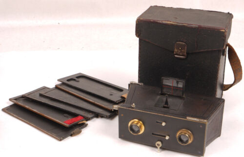 """""""La Mignarde"""" 45x107 Vintage Jumelle/Stereo Camera w/Brass Lenses - Nice Set"""