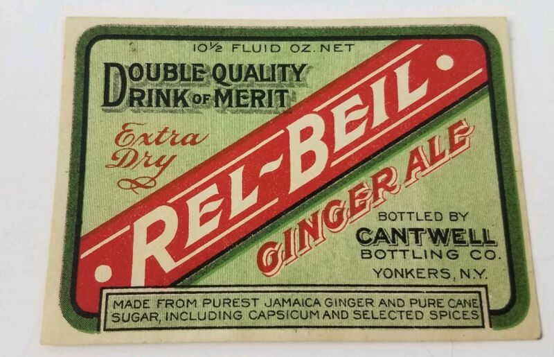 Antique Rel-Beil Ginger Ale Cantwell Bottling Co. Yonkers New York Label