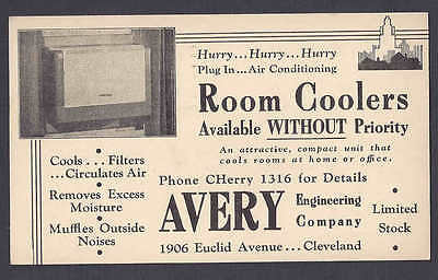 1942 AVERY ENGINEERING CO, ROOM AIR CONDITIONERS, CLEVELAND OH