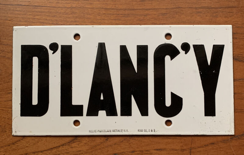 Vintage New York Subway Station Train Porcelain Sign D'LANC'Y MiNTY
