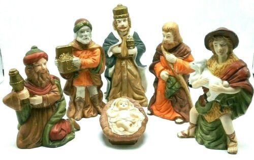 Vintage Christmas Hand Painted Porcelain 6 Piece Nativity Set (No Mary & 2 Lamb)
