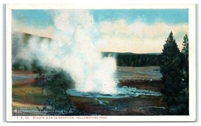 Early 1900s Minute Man in Eruption, Yellowstone National Park, WY Postcard