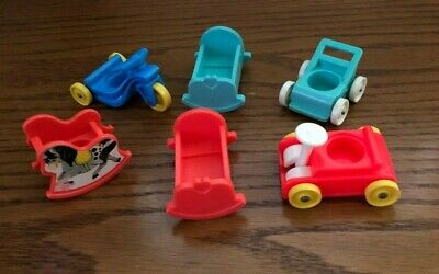 Vintage Fisher Price Little People nursery lot cradles stroller rocking horse++
