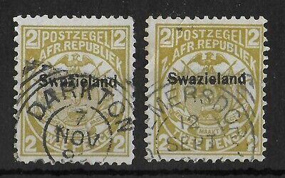 SWAZILAND 1889-1890 Used 2d Olive Bistre Set of 2 SG #2 & 5 CV £50 Fine Cancels