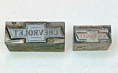 2 Chevrolet Logo Advertisement Letterpress Wood Metal Print Blocks