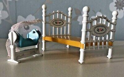 Vintage Dolls House  Furniture Mattel Diecast Littles Baby Crib & Double Bed