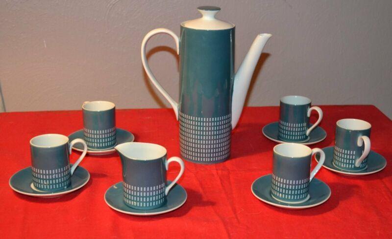 VTG Harmony House 4777 Mid Century Espresso Coffee Tea Set 13 Pc Japan Blue Gray