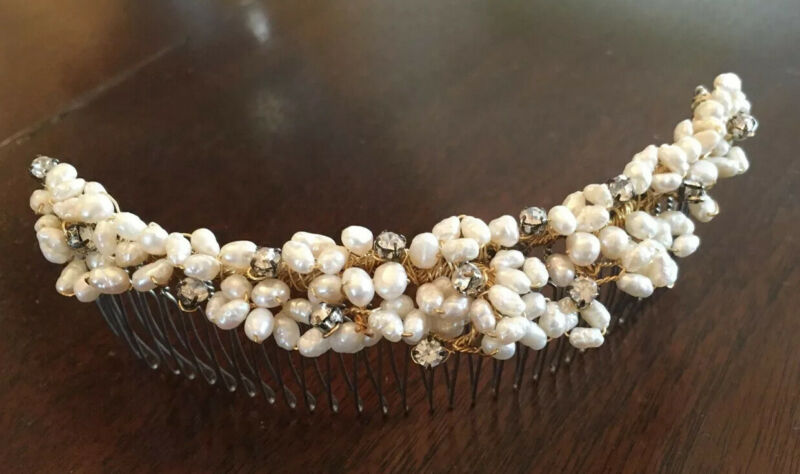 Elegant Hair Jewelry Comb Seed Pearl Crystal Gold Wedding Updo