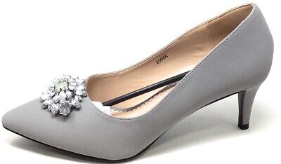 Journee Collection Women's Pointed Toe Jewel Cluster Pumps Grey Size 11 M US