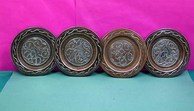 Mamluk Sterling silver inlaid copper trays 4 no Asian Gazelle decoration 4