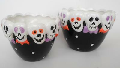 Halloween Skull Nesting Bowls Candy Dishes Snacks Table Decorn Black White Funny