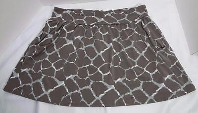 BANANA REPUBLIC taupe beige gray abstract print knit mini skirt Large Abstract Print Knit Skirt