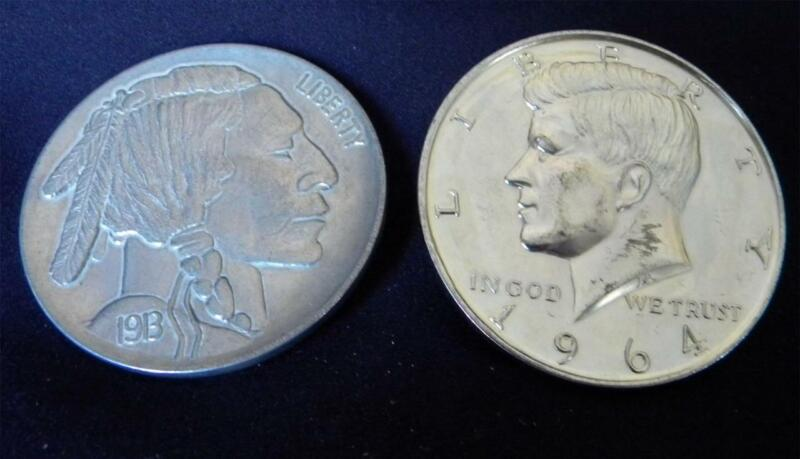 """3"""" 1913 S Buffalo Indian 5c Coin 1964 Kennedy 1/2 Dollar  Paperweights Coasters"""