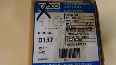 Sleeve Bearing 115 Volts Fasco W6 Shaded Pole Motor CCW Rotation 1 Speed 1//15 HP 2.2 Amps 3000 RPM