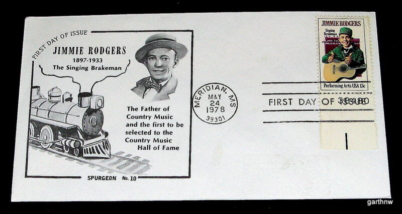 JIMMIE RODGERS 1978 FIRST DAY COVER SINGING BRAKEMAN COUNTRY MUSIC HALL OF FAME