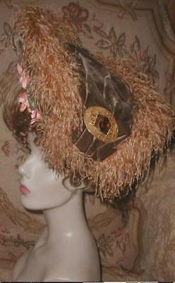 GORGEOUS 1903 CAROLINE REBOUX PARIS Silk Velvet & Ostrich Plume Hat w Big Brooch