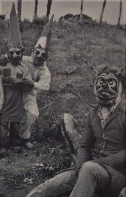 Creepy, Unusual, Vintage, Early 1900's HALLOWEEN COSTUMES/4X6 B&W Photo Reprint
