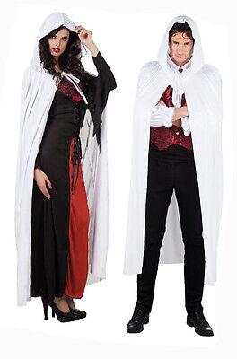 Erwachsene Lang mit Kapuze Weiß Umhang 180CM Schnee Eiskönigin Weihnachten Ghost (Schnee Königin Kostüm Halloween)