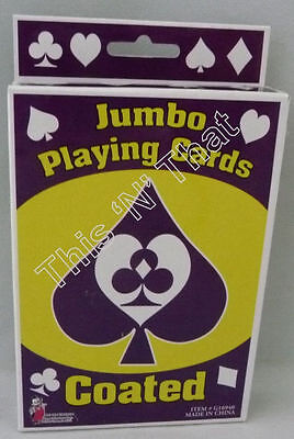 """NEW Jumbo Coated Playing Cards 3.5 x 5"""" Standard Deck Large Print Poker"""