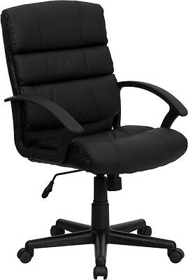 Mid Back Tilter Chair - Mid-Back Swivel and Tilter Black Leather Office Desk Chair