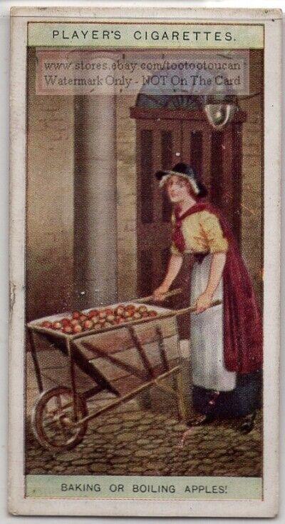 London Woman Street Cart Peddler Selling Apples Baking 100+ Y/0 Trade Ad Card
