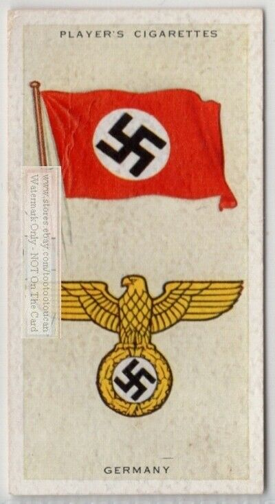 Germany  Flag Banner Emblem Berlin WWII 1930s Ad Trade Card