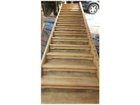Beautiful 17 tread Hardwood Staircase, long wide shallow (Pirana Pine hardwood) 5.3m long - lovely