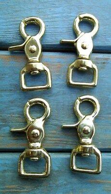 (Lot 4 Solid Brass Trigger Scissor Rein Snaps Flat Square End Swivel 5/8