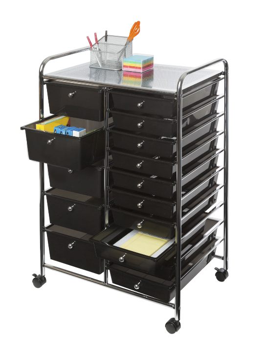 Seville Classics 15-Drawer Organizer Cart, Black Home & Garden