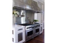 MORE HYGIENIC THAN TILES - HIGH QUALITY BRUSHED STAINLESS STEEL BACKSPLASH & SHELF SUPPLY AND FIT