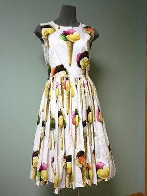 Dolce & Gabbana AUTH NWT Logo Ice Cream Gelato Pleated Skirt Poplin Dress 38