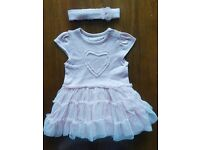 0 to 3 months girls dress with headband