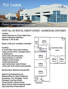 2180 SQ FT MARKHAM OFFICE FOR RENT