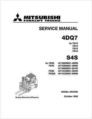 Mitsubishi 4DQ7 S4S Forklift Truck Engine Service Manual (B90)
