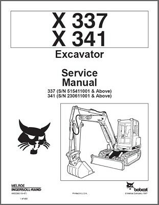 Bobcat X337 X341 Excavator Service Repair Manual On A Cd - X 337 341