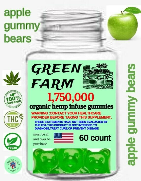 HEMP APPLE GUMMY BEARS HELP PAIN STRESS & ANXIETY, HEMP OIL 60 CT 1,750,000