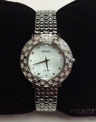 SEIKO Women's TRESSIA Series Stainless Steel 36 Diamond Solar WATCH SUP373