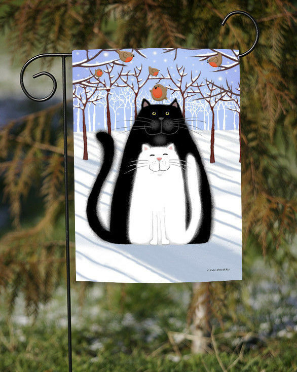 Toland Snow Cats and Birds 12.5 x 18 Cute Winter Kitty Cat B