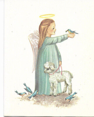 Vintage Little Girl Angel with a Halo, Lamb and Bluebirds Christmas card](Angel With A Halo)