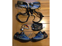 Climbing harness/belay/chalk bag/size 9.5 red chili climbing shoes
