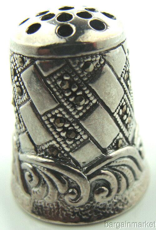 Rare Collectors Sterling Silver Marcasite Thimble #P148