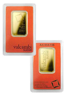 Valcambi Suisse 1 Troy Oz .9999 Fine Gold Bar - Sealed w/ Assay Cert. SKU28617